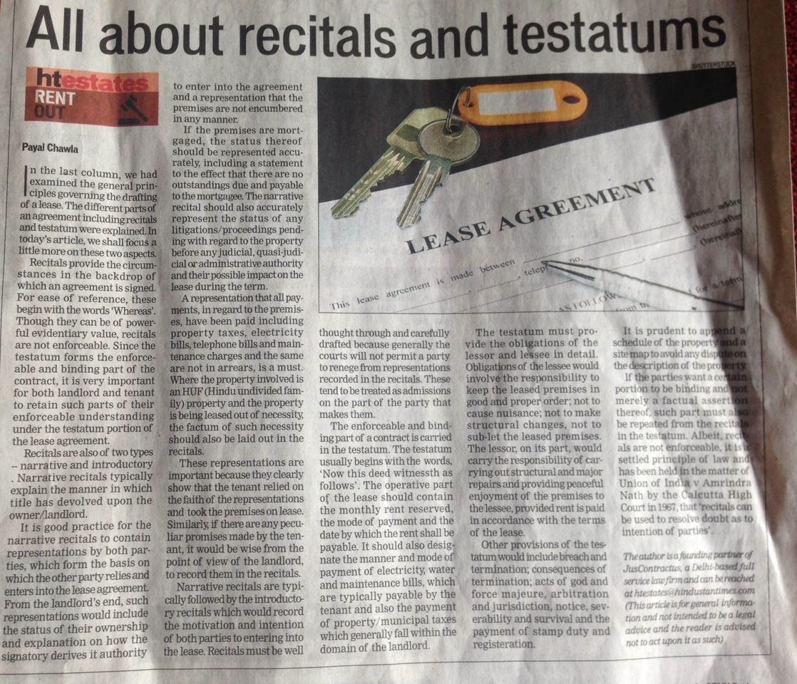 All About Recitals And Testatums Juscontractus